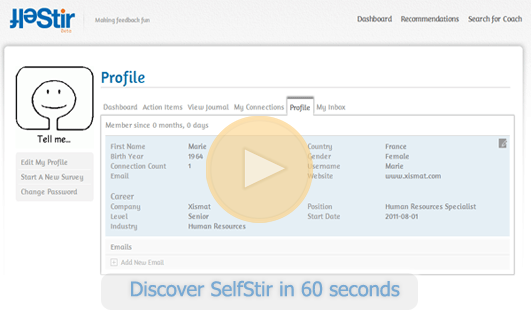 SelfStir user profile