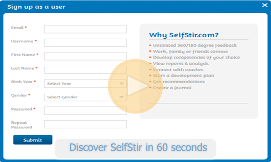 Sign Up for a free 360 feedback on SelfStir